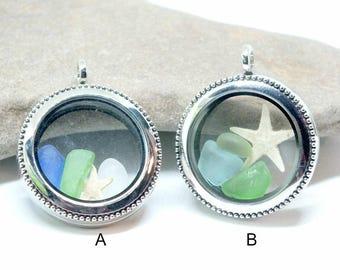 Sea Glass Locket, Mermaid Jewelry, Beach Glass Memory Locket, Seaglass Pendant, Ocean Necklace, Beach Gift, Lake Erie Beach Glass, Sea Glass