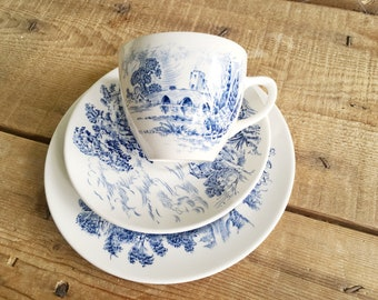 Wedgwood Countryside Teacup and Saucer with side plate, Blue and White Transferware, Ironstone Trio Tea Set, Birthday gift for her