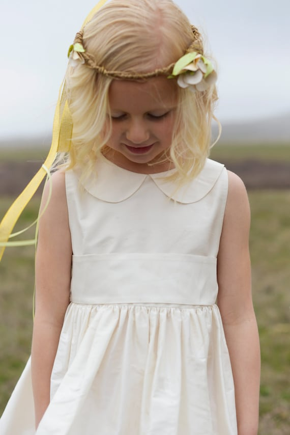 Pure silk flower girl dress peter pan collar in many colours mightylinksfo