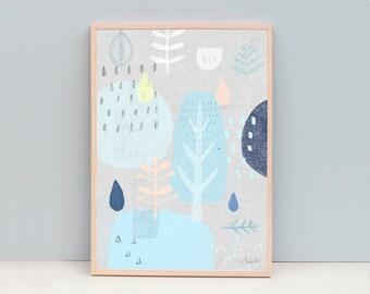 Large art print, Nature art, Linen Art, Blue Art Print, Tree Art, Nature Art Print, Scandinavian Art Print, Light Blue Art, Modern Wall Art
