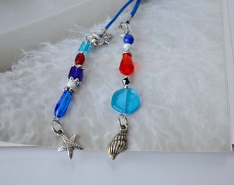Summer Beach Beaded Bookmark, Beach Wedding Guest Bookthong, Blue leather cord, Blue,  Red and white glass beads, Book accessories