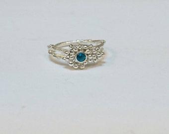 Sterling silver handmade granulation twig style ring with 3m Paraiba aqua blue quartz. Hallmarked in Edinburgh