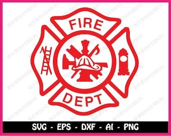 Fire department svg, fire dept svg, firefighter svg, maltese cross svg, svg file for cricut, silhouette, svg files, svg, instant download