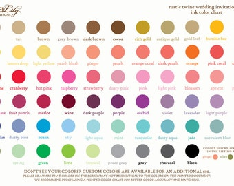 Ink Color Chart for Rustic Twine Wedding Invitation Set