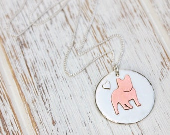 French Bulldog charm necklace, frenchie pendant necklace. Hand cut and made
