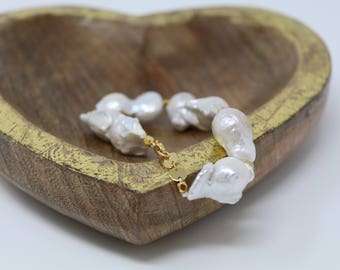 Large Baroque Nucleated Freshwater Gold Pearl Bracelet