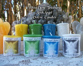 ARCHANGEL CANDLES ~ Angel VOTIVES ~ Meditation Candle ~ Raphael ~ Michael ~ Uriel ~ Gabriel ~ Prayer Candle ~ Gift Box