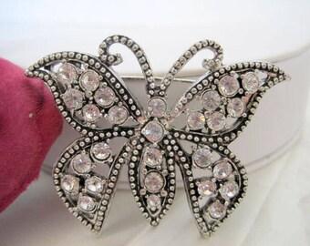 Rhinestone Butterfly Brooch Silver Tone Pin