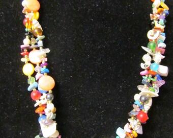 Vintage gemstone shell necklace