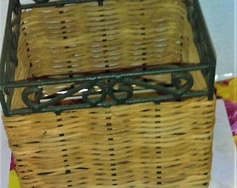 Wicker and Wire Basket, Wrought Iron Wicker Basket,Kitchen Storage. Country Farm House Decor