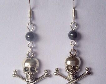 Silver Skull Earrings Hematite Earrings Skull & Crossbones Earrings Pirate Earrings Punk Earrings