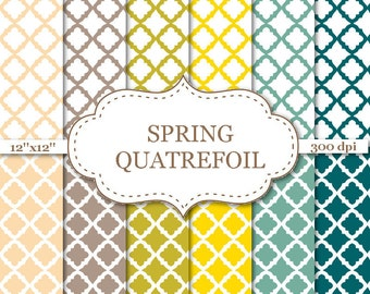 SPRING QUATREFOIL Digital Paper Quatrefoil pattern in teal, yellow, brown, khaki, beige Moroccan Digital papers Digital background #P096