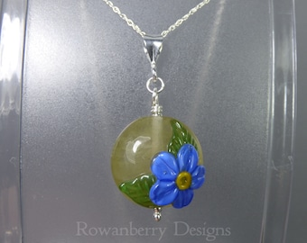 Forget-Me-Not Pendant and Chain - Art Nouveau Handmade Lampwork Glass & 925 Sterling Silver - Rowanberry Designs SRA - Art- FMNP2