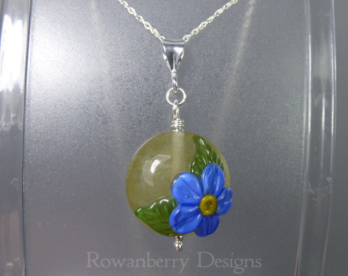 Featured listing image: Forget-Me-Not Pendant and Chain - Art Nouveau Handmade Lampwork Glass & 925 Sterling Silver - Rowanberry Designs SRA - Art- FMNP2