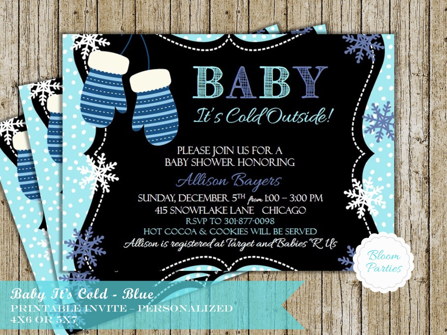 Baby Its Cold Outside Baby Shower Invitation Blue Mittens