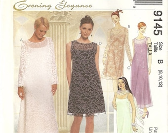 McCalls 9145 Misses Lace Overlay Dress Slipdress & Scarf Wedding Bridesmaid Sewing Pattern Size 8 - 10 - 12