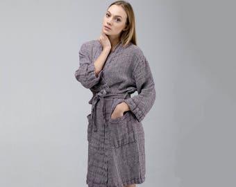 Linen Bathrobe In White And Dark Purple Patterns / Women Bathrobe / Linen Robe / Linen Dressing Gown / Patterned Bathrobe / Patterned Robe
