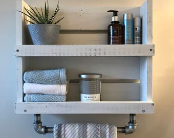 Bathroom Shelf With Towel Bar White Distressed Wood Shelf With Galvanized  Pipe Towel Bar Wall Mounted Storage Floating Shelf Industrial