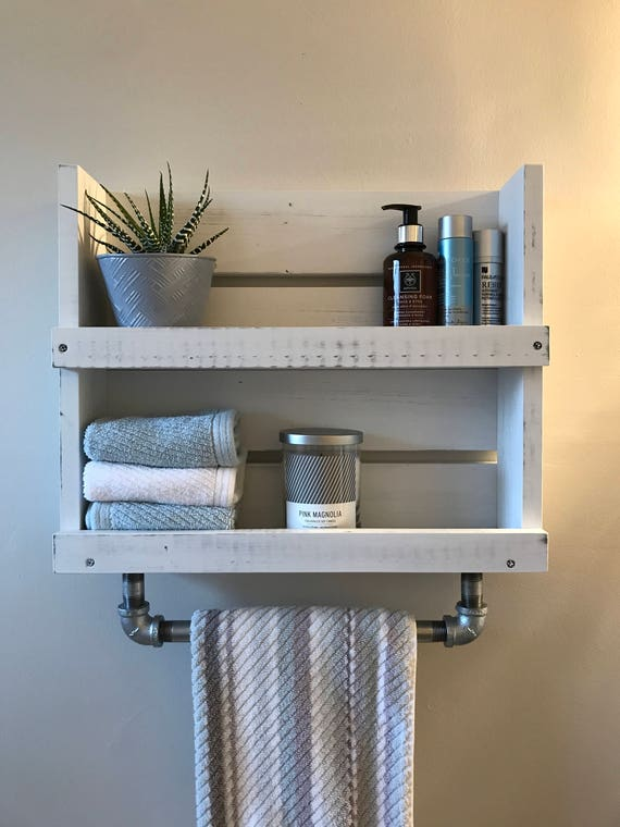 Bathroom Shelf With Towel Bar White Distressed Wood Shelf