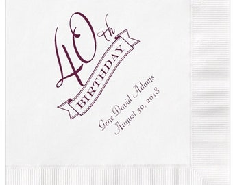 40th Birthday Party Napkins Personalized Set of 100 Napkins Fortieth