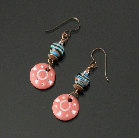 Terracotta Clay Earrings, Rustic Boho Ethnic Earrings, Tribal Earrings Birthday Gift for Her, Wife, Mom, Niobium Earrings, African Earrings