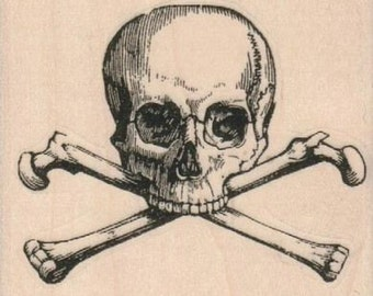 skull and cross bones pirate  rubber stampo Day of the Dead rubber stamps    wood mounted 14694