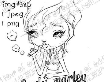 INSTANT DOWNLOAD Big Eye 420 Girl  w/ Sentiments Digital Stamp -  Carly Marley Image No.385 a & b by Lizzy Love