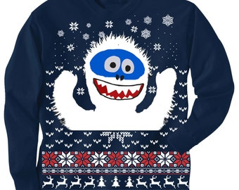 KIDS Christmas sweater Tee -- BUMBLE SNOWMAN Yeti Abominable  - long sleeve t shirt - kids toddler youth sizes