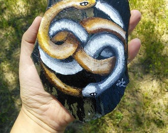 Snake Infinity Slate Rock Painting