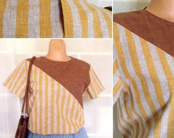1980s boxy cotton blouse // mustard grey brown minimal