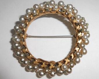 Seed Pearl Brooch Pin Miriam Haskell Circle Pin