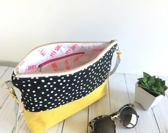 Crossbody bag, small purse, everyday bag, polka dotted, canvas bag, crossbody bag for women, screen printed bag