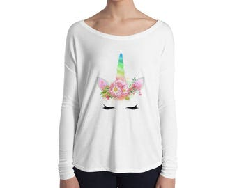 Rainbow Horn Unicorn Ladies' Long Sleeve Tee