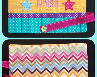 Personalised Bespoke Crayon Roll * Party Bag * Stocking filler * Can be made in any colour