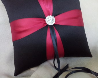 Black Dark Red Ring Pillow with Rhinestone Accent Bridal Wedding Ring Bearer Pillow