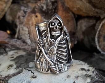 Vintage 1986 Grim Reaper G&S Biker Ring - Hallmarked - Size 10.5