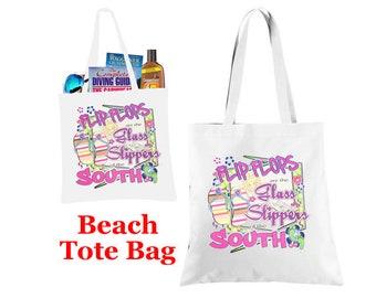 Beach theme Tote Bag.  Flip Flop theme tote bag