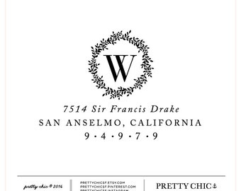 Floral Wreath Stamp - Custom Stamp - Custom Stamps - Address Stamp - Wedding Stamp