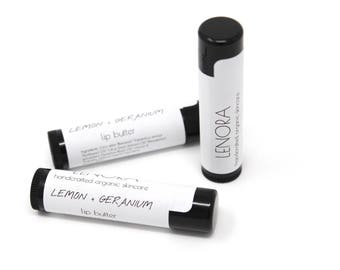 Organic Lip Butter // Lemon + Geranium // handmade // heal and nourish // uplifting and rose