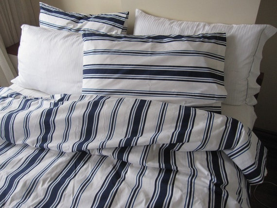 Nautical White Navy Blue Sailor Stripe King Twin Xl Queen Size