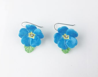 Porcelain Blue Primrose drop earring/ earrings/ dangle earrings/ flower earrings/ porcelain earrings/ flower jewellery/Blue Primrose earring