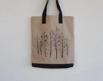Tree Tote Bag Nature Tote Hand painted Minimalist Tote Bag Olive Modern Tote Bag Women's Work Bag Messenger Bag Woodland Tote Bag For Women