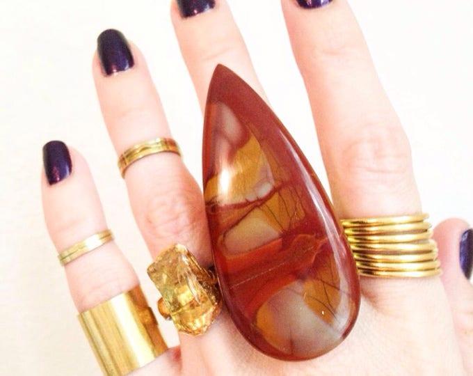 Noreena Jasper Brass Cuff Ring, Size 9