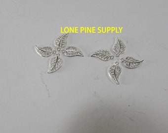 Silver Leaf Charm. 16mm x 10mm Leaf Charm. Jewelry making Supply. Finished on Both Sides