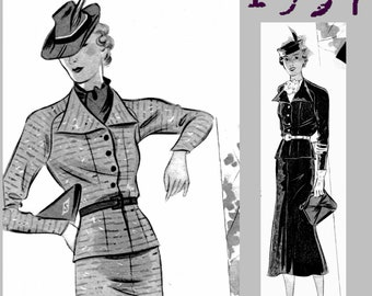 "Jacket and skirt - Bust: 96cm - 37 "" - 1930's - Vintage Reproduction PDF Pattern - made from original 1937 Pattern"