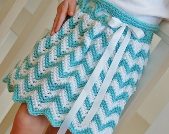 "Crochet Pattern: ""Chasing Chevrons"" Skirt, Sizes Newborn thru Adult, Permission to Sell Finished Items"