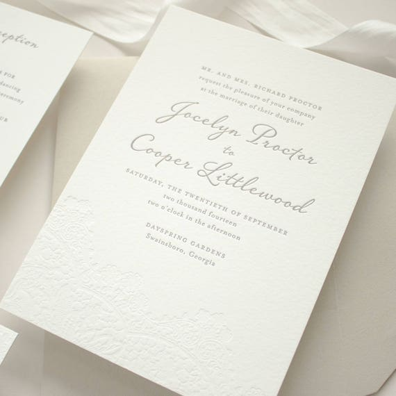 Lace Letterpress Wedding Invitation, Blind Impress Lace Letterpress Invitations on 2-Ply Cotton Paper, Letterpress SAMPLES | Harmony