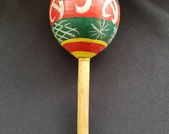 "Vintage Hand Carved Maraca / Shaker Hand Painted Mexico 9"" Long"