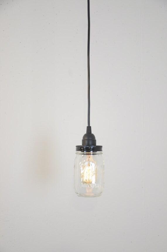 Mason Jar Industrial Pendant Light Lamp Black Vintage Rustic