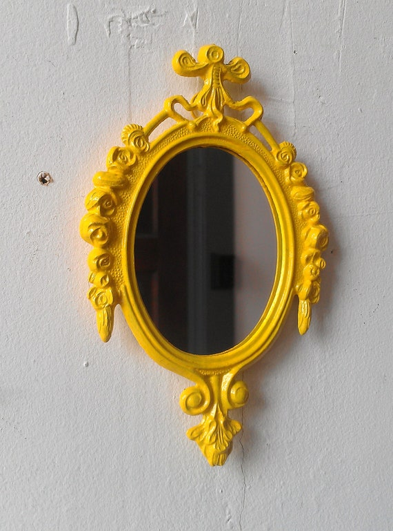 Bright Yellow Mirror Set of Two in Matching Vintage Italy